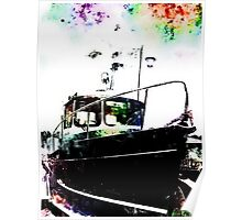 Black Tug with Rainbow Poster