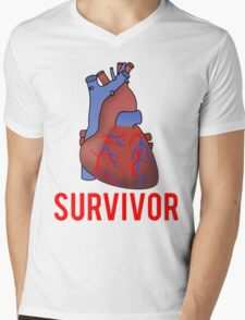 Heart Health Survivor Mens V-Neck T-Shirt