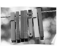 Clothespins on wire Poster