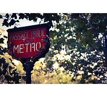 Metro Sign In Paris Photographic Print