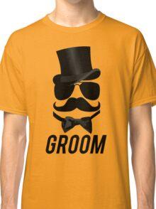 Funny Groom Mustache Top Hat Bow Tie Aviators Classic T-Shirt
