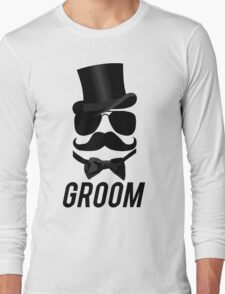 Funny Groom Mustache Top Hat Bow Tie Aviators T-Shirt