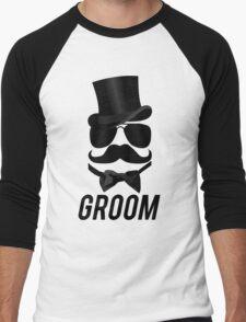 Funny Groom Mustache Top Hat Bow Tie Aviators Men's Baseball ¾ T-Shirt