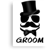 Funny Groom Mustache Top Hat Bow Tie Aviators Canvas Print
