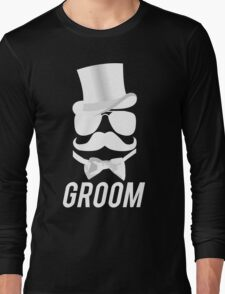 Funny Groom Mustache Top Hat Bow Tie Aviators Long Sleeve T-Shirt