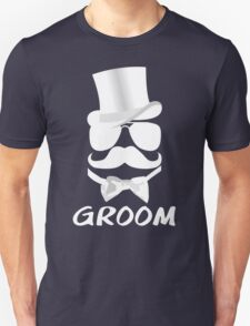 Funny Groom Mustache Top Hat Bow Tie Aviators T-Shirt