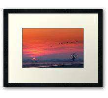 Sunrise in polder Framed Print