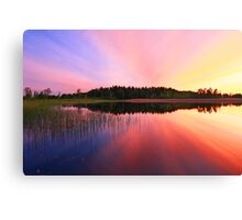 Sunset over lake Canvas Print