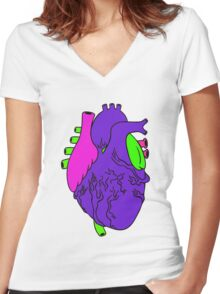 Heart Arty verison colour  Women's Fitted V-Neck T-Shirt