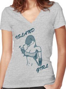 Island Girl Women's Fitted V-Neck T-Shirt