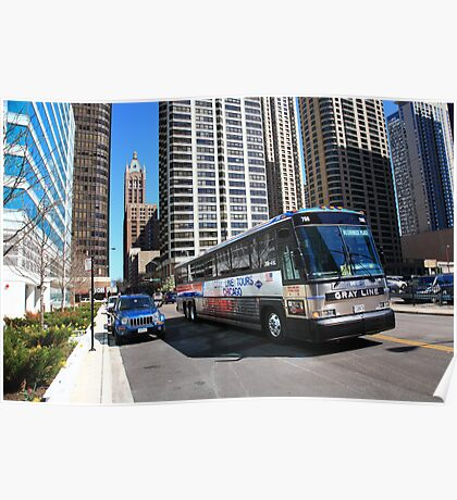 Chicago Bus and Buildings Poster