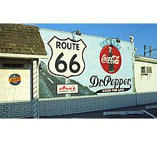 Route 66 - Mural with Shield Photographic Print
