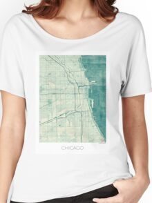 Chicago Map Blue Vintage Women's Relaxed Fit T-Shirt