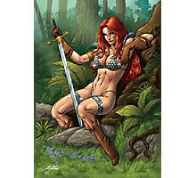 Red head Warrior with Sword. Waiting, resting. Photographic Print