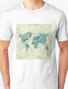 World Map Map Blue Vintage T-Shirt