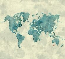 World Map Map Blue Vintage by HubertRoguski