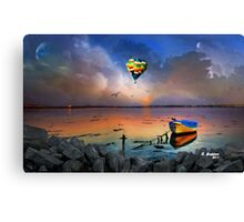 THE CANOE AND THE BALOON AT THE BEACH, by E. Giupponi Canvas Print