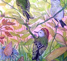 Golden-Crowned Kinglets by Lynda Earley