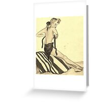 50's beach babe Greeting Card