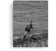 Boy Skipping Rocks Canvas Print