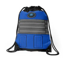 Not a robot. Blue. Inspired by Daleks. Drawstring Bag