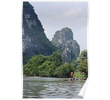 Fishing Cormorants with Hills - Guilin, China  Poster