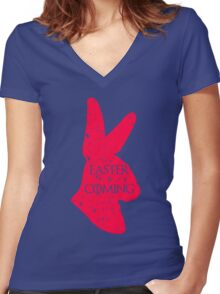 Easter Is Coming Women's Fitted V-Neck T-Shirt