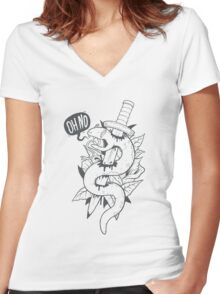 Poor Mr. Snake BW Women's Fitted V-Neck T-Shirt
