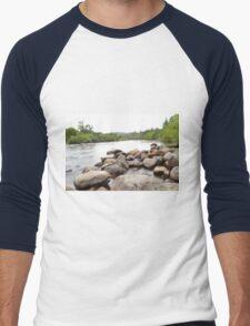 long exposure river Men's Baseball ¾ T-Shirt