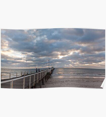 Henley Beach as the sun sets Poster