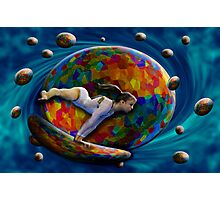 Girl around the Earth Photographic Print