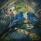 Bluebirds sitting on a Branch by Cherie Roe Dirksen