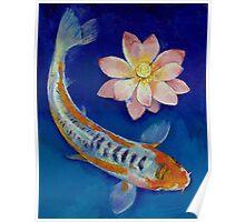 Koi Fish and Lotus Poster