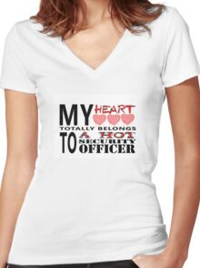 My Heart Belongs - Security Women's Fitted V-Neck T-Shirt