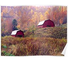 Twin Tobacco Barns Poster