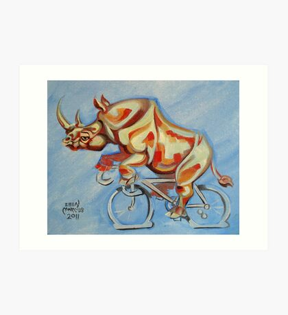 Rhino on a Bicycle Art Print