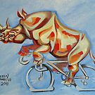Rhino on a Bicycle by Ellen Marcus