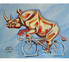 Rhino on a Bicycle Photographic Print