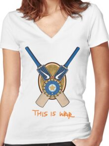 India Cricket - This is War Women's Fitted V-Neck T-Shirt