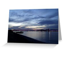 columbia river, lewis and clark bridge, sunset Greeting Card