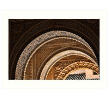 Moorish arches in the Alhambra Place in Granada Spain  Art Print