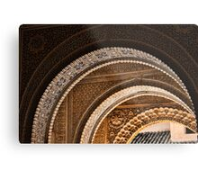 Moorish arches in the Alhambra Place in Granada Spain  Metal Print