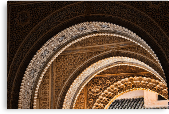 Moorish arches in the Alhambra Place in Granada Spain  by InterfaceImages