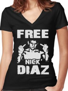 Free Nick Diaz Women's Fitted V-Neck T-Shirt
