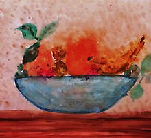 Antique look Bowl of Fruit, watercolor by Anna  Lewis