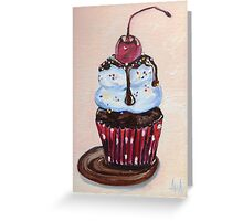 Chocolate Cupcake with a Cherry On Top Greeting Card