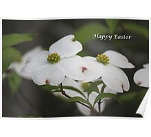 Happy Easter Dogwood Tree Poster