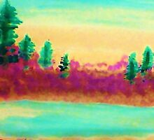 Pines Over Looking Lake, watercolor by Anna  Lewis, blind artist