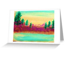 Pines Over Looking Lake, watercolor Greeting Card