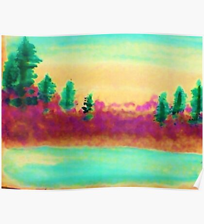 Pines Over Looking Lake, watercolor Poster